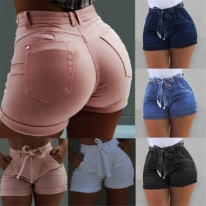 High Waist Hot Ladies Shorts Women Summer Short Jeans Bandage Plus Size Lady Office Black Booty Workout Denim Spodenki Damskie