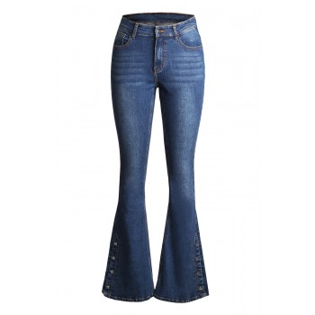 Black Anchor Point Bell Bottom Jeans Blue