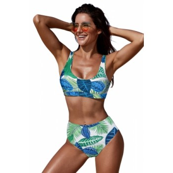 Green U-neckline High Waist Tropical Bkini