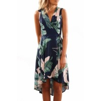 Green V-Neck Floral Printed High-Low Sleeveless Skater Dress
