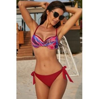 Red Printed Top Self-tie Panty Swimwear Blue Green