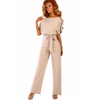 Apricot Oh So Glam Belted Wide Leg Jumpsuit
