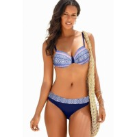 Blue Retro Print Bikini Swimsuit
