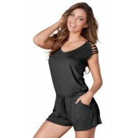 Gray Loose Fitting Short Jumpsuit Black Red