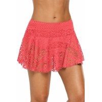 Orange Crochet Lace Skirted Bikini Bottom