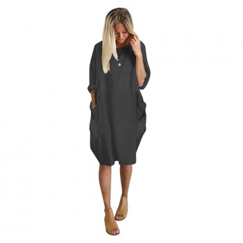 Autumn Womens dresses Pocket Loose Dress Ladies Crew Neck Casual Long girl Tops Dress