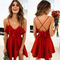 Backless Cross Drawstring Ruffles Bundle Waist V-neck Strap Mini Dress Summer Red