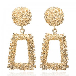 Big Vintage Earrings for women gold color Geometric statement earring Silver