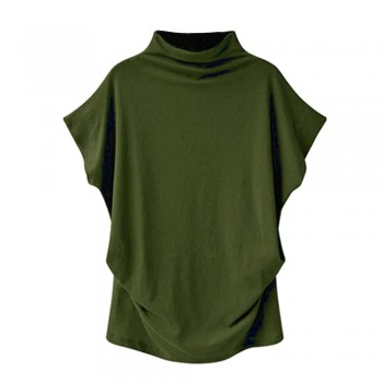Women Casual Turtleneck Short Sleeve Cotton girl Solid Casual Blouse Top