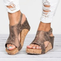 Women Sandals Platform Sandals Wedges Women Heels Summer Shoes Leather Wedge Black Brown Beige