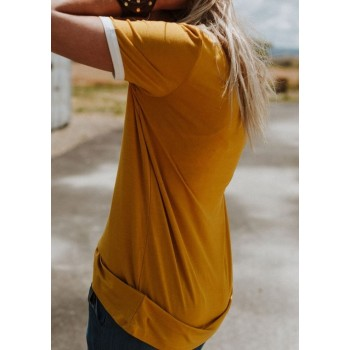 Yellow Polyester Women's T-Shirt Bring On The Sunshine Letter Print Short Sleeve T-Shirt Women's Sleeveless Top