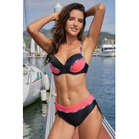 Black Pink Color Block Striped Pipping Push up Bikini