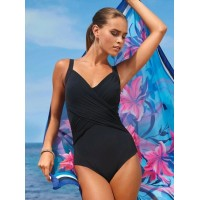 Black Pleated Cross Wrap Front Maillot Orange Blue