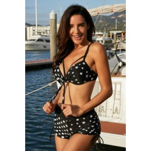 Polka Dot Print Drawstring Side Criss Strap Bikini Set