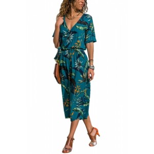 White Wrap V Neck Floral Wide Leg Jumpsuit with Belt Sky Blue Green
