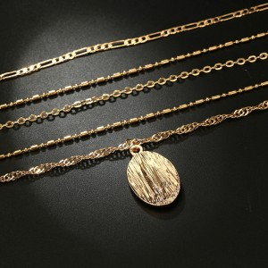 Bohemia Multi Layered Pendant Necklace Gold Color Madonna Statue Pendants Charming Link Chains Fashion Necklace