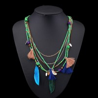Ethnic Bohemian Choker Necklace Women Multilayer Beads Feather Resin Maxi Collares Collier Jewelry