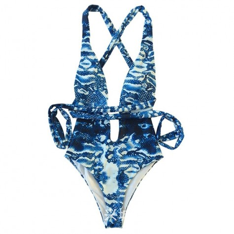 abe1d058c87 Snake Print Swimsuit Women Leopard One Piece Bathing Suit Deep V ...
