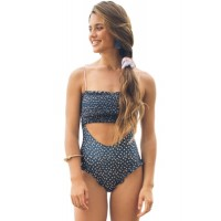 Blue Smocked One Piece Swimsuit White Orange