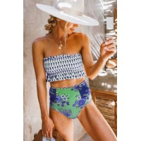 Rose High Waist Printed Smocked Bikini Blue