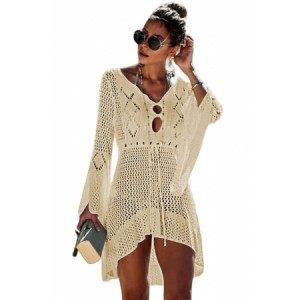 Apricot Crochet Knitted Beach Cover up Dress