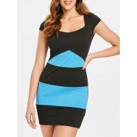 Color Block Stripe Short Dress - Multi