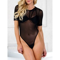Cut Out One Piece Sheer Swimwear - Black
