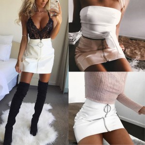 High Waist Zip Faux Leather Short Pencil Bodycon Mini Skirt Black Pink Red White