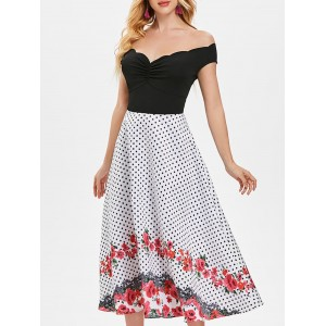 Polka Dot Floral Print Vintage Midi Dress - Multi