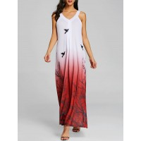 Printed Cut Out Ombre Color Maxi Dress