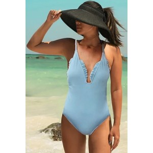 Sky Blue Ruffled One-piece Swimsuit