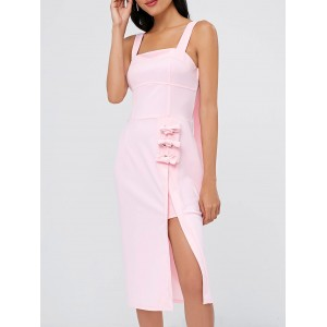 Square Neck Knee Length Dress - Pink Bubblegum