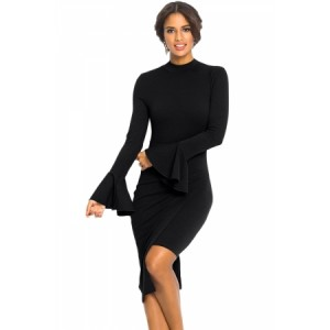 Black Keyhole Back Asymmetric Bodycon Midi Dress Blue