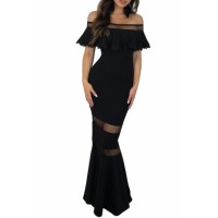 Black Lace Applique Flounce Off Shoulder Party Gown