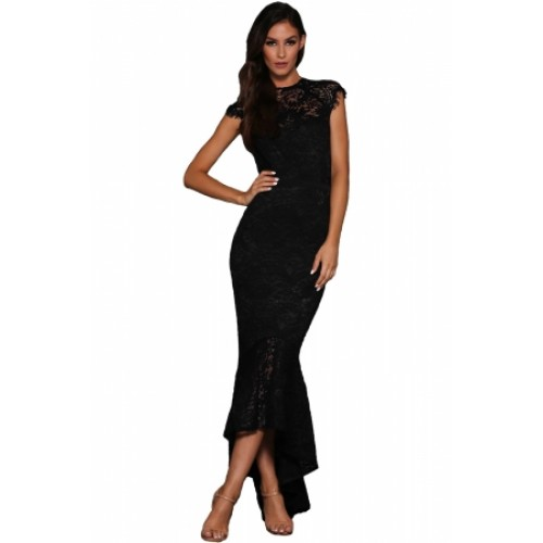 Black Lace Overlay Embroidered Mermaid Dress Black Lace Overlay