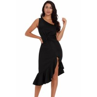 Black Ruffle Hem One Shoulder Twisted Sheath Dress