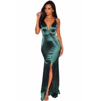 Wine V Neck Crisscross Slit Mermaid Evening Dress Emerald green