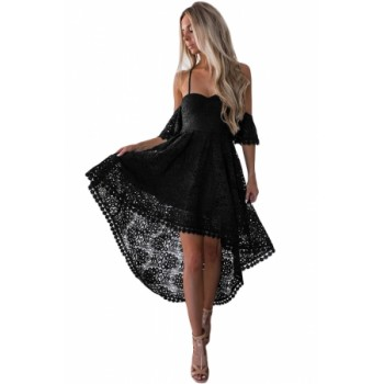 Black Backless Off Shoulder High Low Prom Party Dress