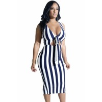 Navy Striped Knot Cutout Front Slit Midi Dress