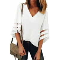 White Flare Sleeve V Neck Loose Blouse Blue Black Purple
