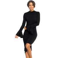 Black Keyhole Back Asymmetric Bodycon Midi Dress