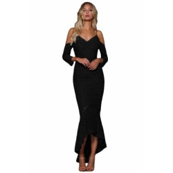 Black Lace Cold Shoulder Elegant Mermaid Party Dress Blue
