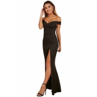 Black Off Shoulder Sweetheart Neck Side Slit Evening Dress Blue