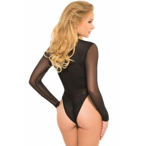 ead32bffb3 Black Sheer Long Sleeved Front Cut out Bodysuit ...