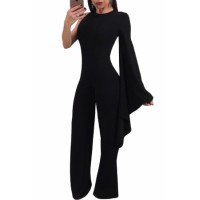 Black Single Bell Sleeve Wide Leg Jumpsuit Orange