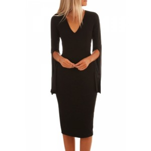 Black Split Bell Sleeves V Neck Bodycon Midi Dress Red