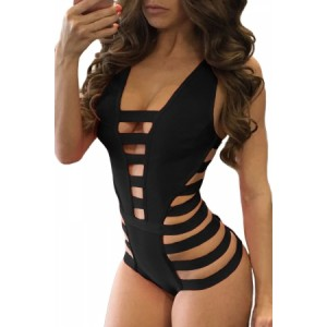 Black Strappy Cutout One Piece Bathing Suit Red