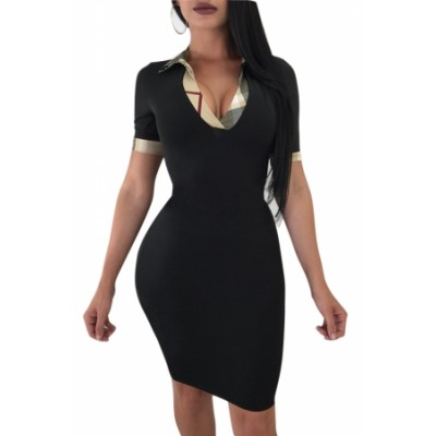Black Turndown Collar Short Sleeves Sheath Dress