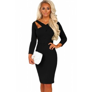 Gray 3/4 Sleeve Cross Over Bodycon Midi Dress Black