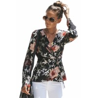 Black Daisy Floral Wrap Tie Waist Long Sleeve Blouse Blue